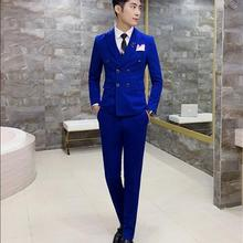 54c1df8cd Royal Blue Mens Suits Slim Fit Plus Size 4XL Latest Coat Design Double  Breasted Tuxedo Prom