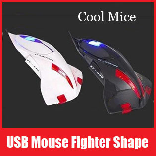 Black/White Color USB Optical Mouse Fighter Plane Mice for Computer Gift for Lover Boys Friends Kids Free Shipping+Retail Box