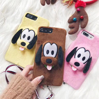 Lovely Cute 3D Soft Velvet Dog Cartoon Mobile Phone Cases For IPhone7 7Plus Protective Shell Coque