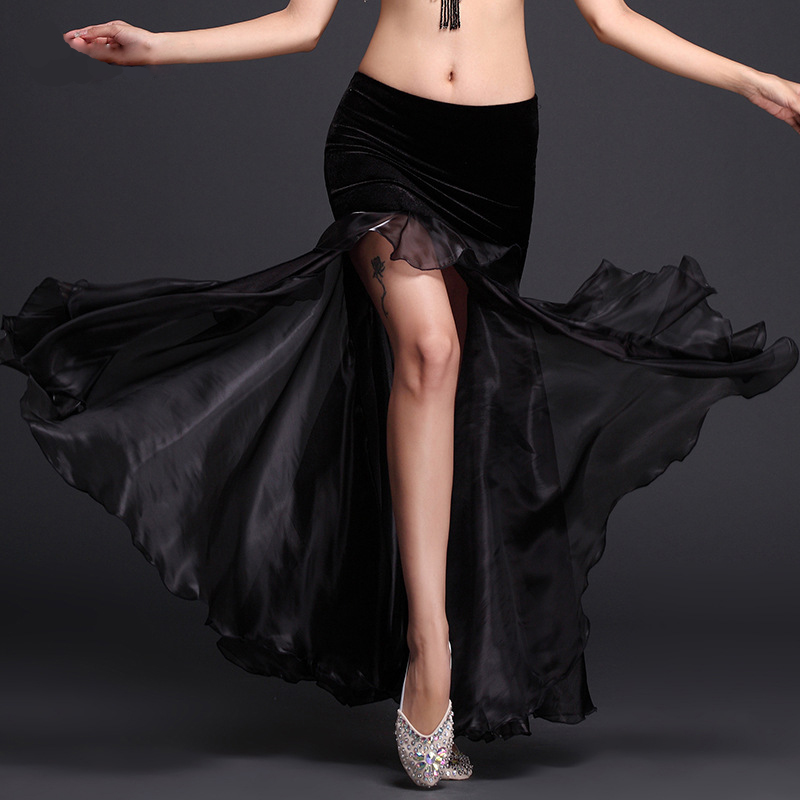 2017 New Belly Dancing Clothes Professional Long Fish Tail Skirts Side Split Women Wrapped Black Belly Dance Skirt