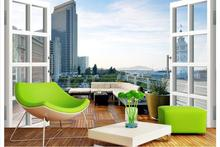 Free shopping 2015 New Non-woven Urban 3 d landscape balcony wall painting in the background wallpaper urban magazine 3 08 2015