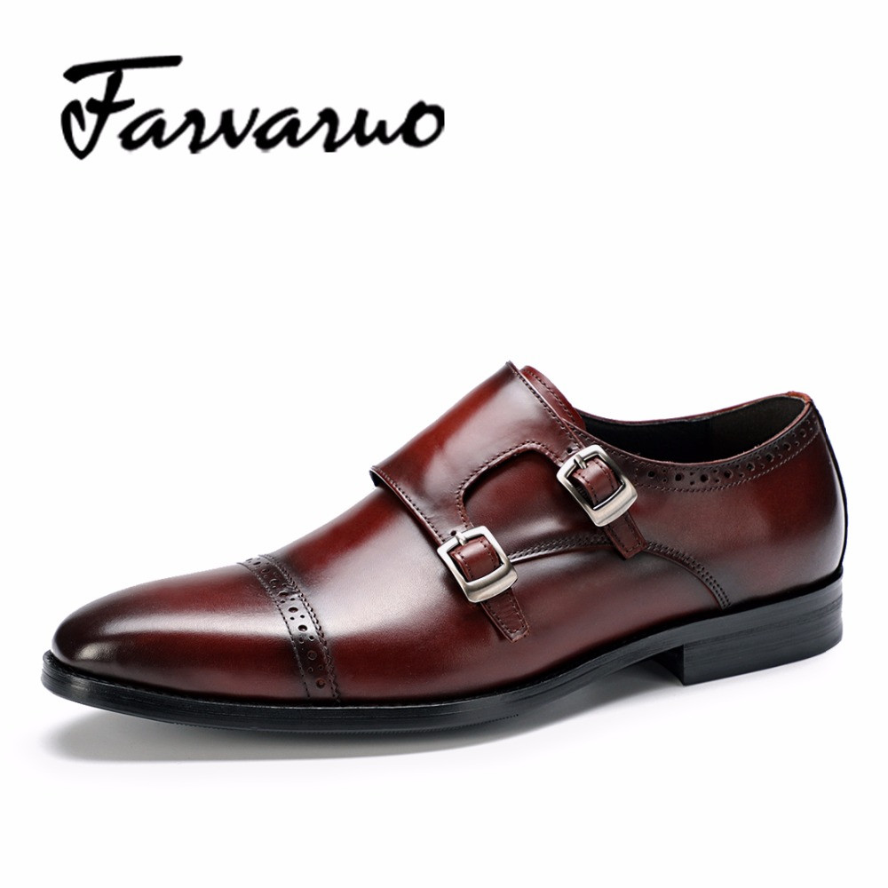 Farvarwo Fashion Men's Formal Flat Shoes Italian Genuine Leather In Party Dress Oxfords Brogue Casual Monk Strap Shoes Men Black hot sale mens italian style flat shoes genuine leather handmade men casual flats top quality oxford shoes men leather shoes