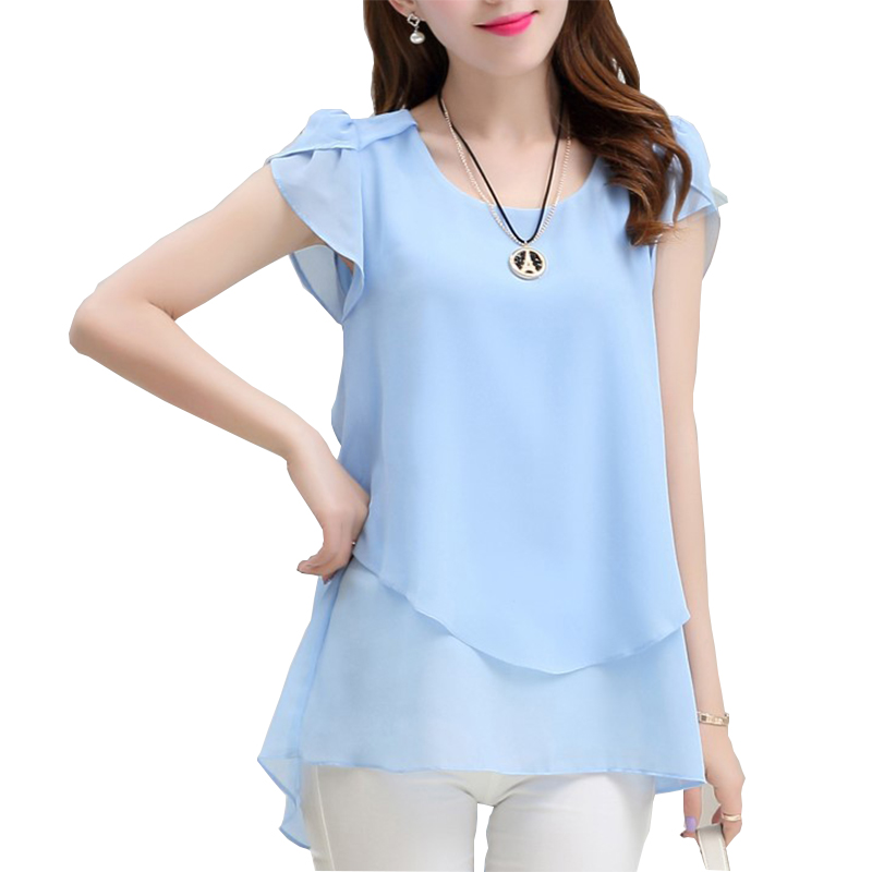 New Fashion 2017 Summer Women Chiffon Butterfly Sleeve Shirt Loose Plus Size M-5XL Solid Color O-neck Long Blouse Shirt
