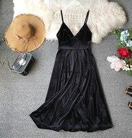 2019 new fashion women's Dress spring and summer black nightclub sexy strap velvet dresses