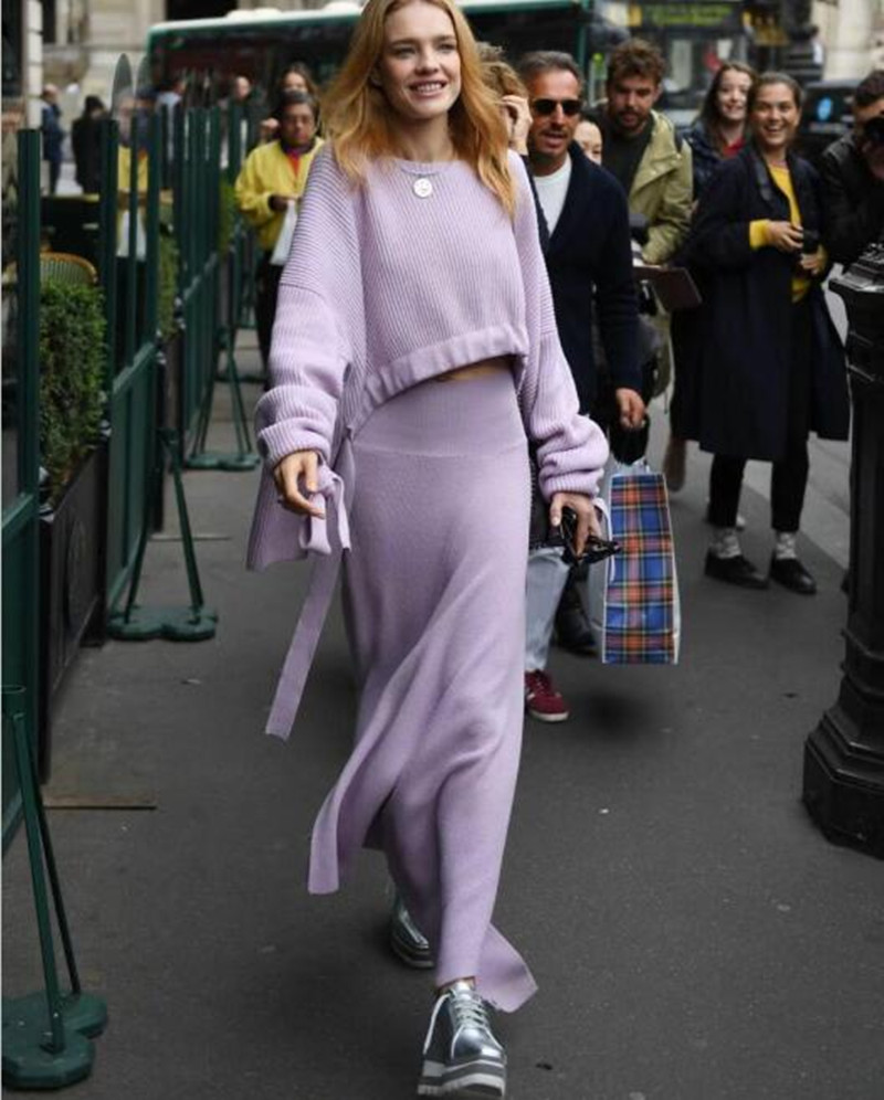 Automne Haute Asymétrique De Jupe Laine Split Hiver Mode Tricoté Taille Femmes Rose Avant tI0ww1