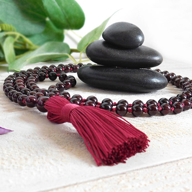 Garnet Hand Knotted Mala Necklace 108 Bead Prayer Mala Jewelry Best Gift For Her 108 Yoga