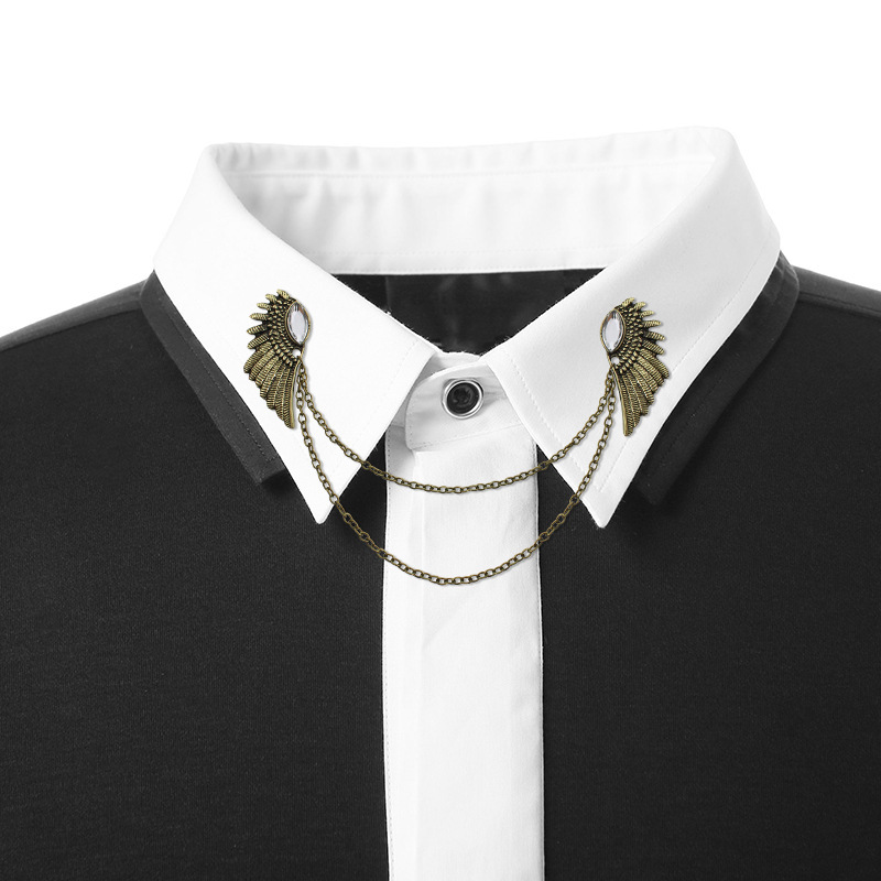 488c7562617 New Tassel Metal Brooch Collar Pin Men's and Women's Vintage Angle Wings  Fringed Chain Brooches Blouses