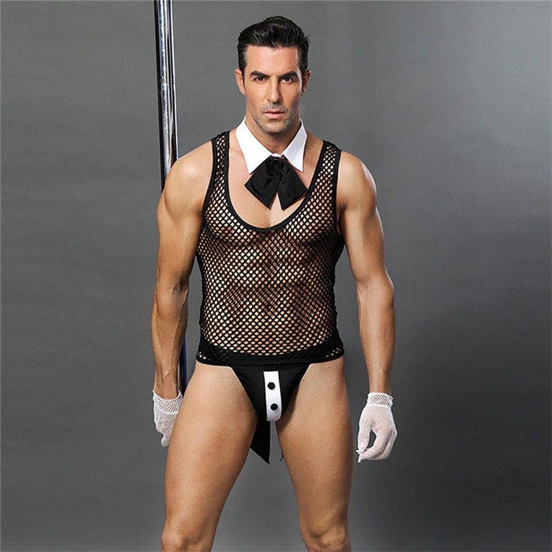 Men Lingerie Sexy Hot Erotic Men Waiter Uniform Cosplay Costume Sexy Porno Catsuit Lingerie Bodysuit Pole Dance Fishnet Bodysuit