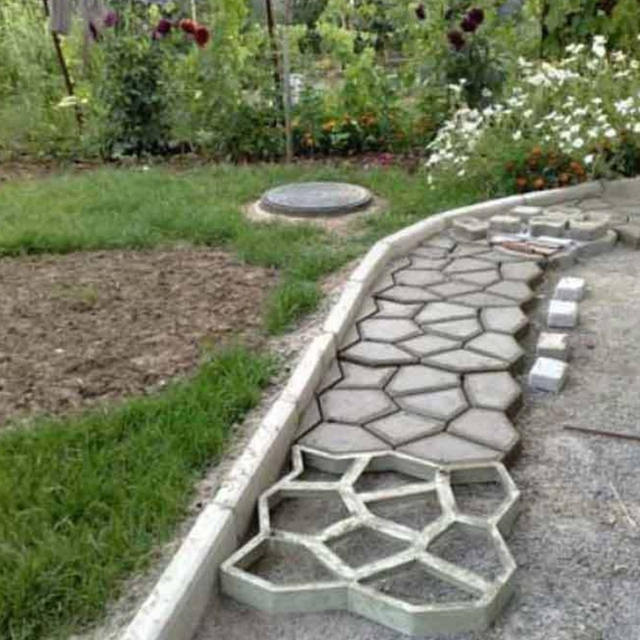 Contemporary DIY Plastic Path Maker Mold Manually Paving Cement Brick Molds Patio Concrete Slabs Path Garden Fresh - Luxury paving prices Top Search