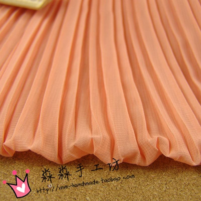 1psc текстиль DIY мучнистой Orange ткань Орган косу раздавил чистый цвет шифон плиссированные платье ткани оптовая цена