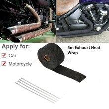 Универсальный мотоцикл негорючий турбо коллектор тепла выхлопной тепловой обёрточная лента нержавеющая стяжки 1,5 мм* 25 мм* 5 м
