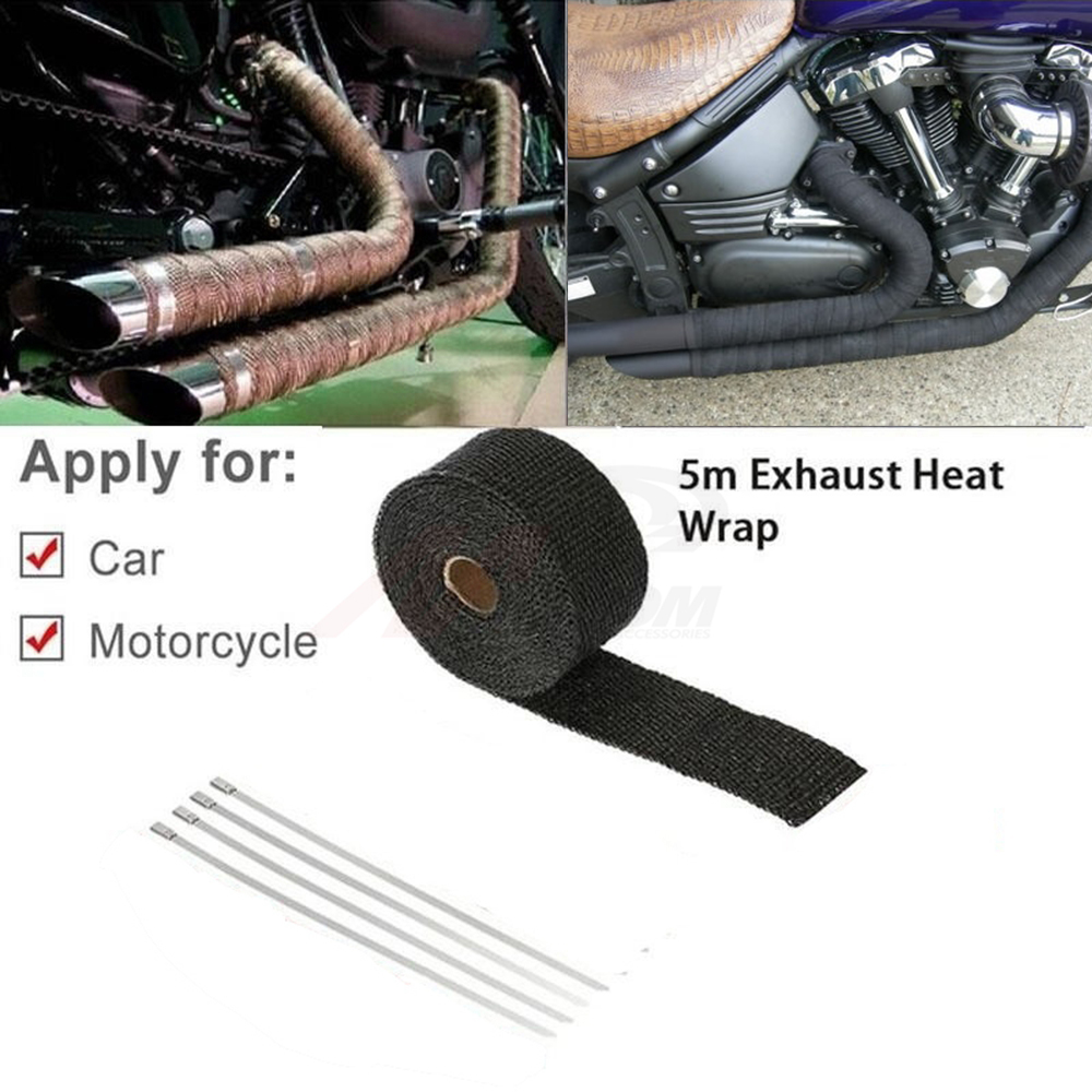 Free Shipping Universal MOTORCYCLE Incombustible Turbo MANIFOLD HEAT EXHAUST THERMAL WRAP TAPE STAINLESS TIES 1.5mm*25mm*5m image