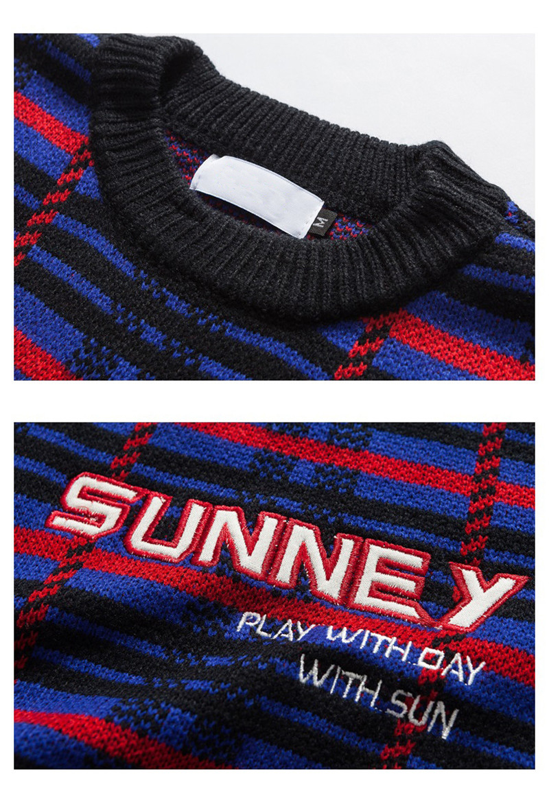 Knitted Harajuku Casual Embroidered Letter Plaid Sweater for Men Japanese Style Urban Boys Knit Pullover Jumper Plus Size M-XL 10