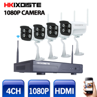 2017 New Plug And Play 4CH Wireless NVR Kit P2P 1080P HD Outdoor IR IP Video