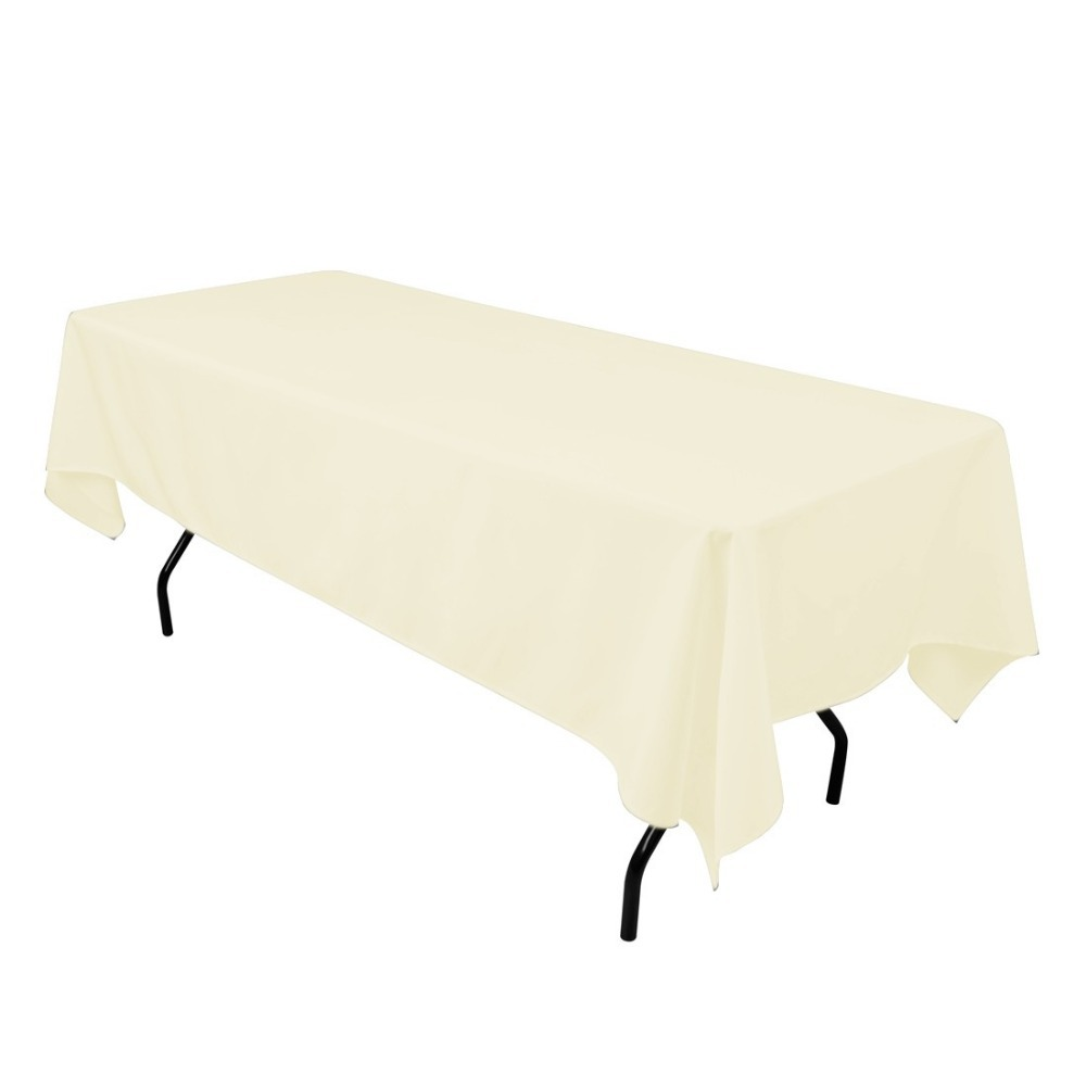HK DHL Stain Feel 230*260cm Polyester Rectangle Tablecloth Ivory for Wedding, 5/Pack
