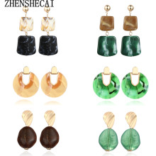 Colorful Bohemian Women's Earrings 2019 Summer Acetate Metal Geometric Acrylic Retro Pendant Earrings Fashion Jewelry Gift 2019(China)