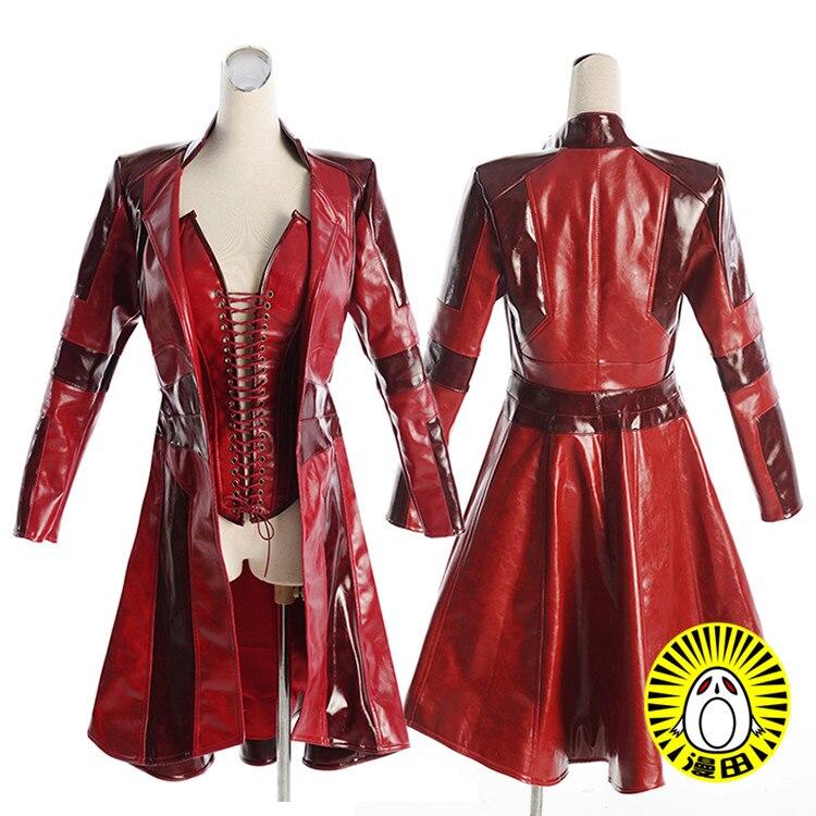 Мстители Скарлет ведьма Ванда косплей костюм Красная куртка на заказ