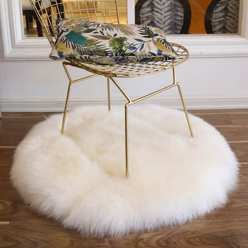 Natural Sheepskin Fur Rug Shaggy Chair Pad ,big Size Round Shaped Seat Cushion, Fur Coffee Table Floor Mat,winter Warm Mat