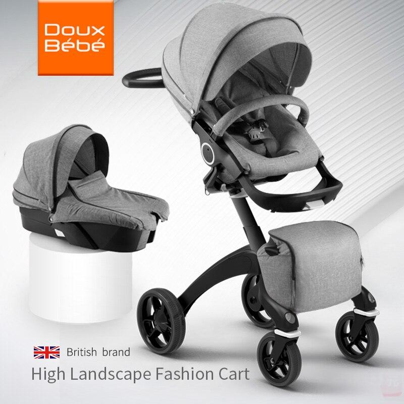 Doux Bebe высокое пейзаж Портативный Детские Коляски складной коляски для новорожденных Travel System четыре колеса коляски