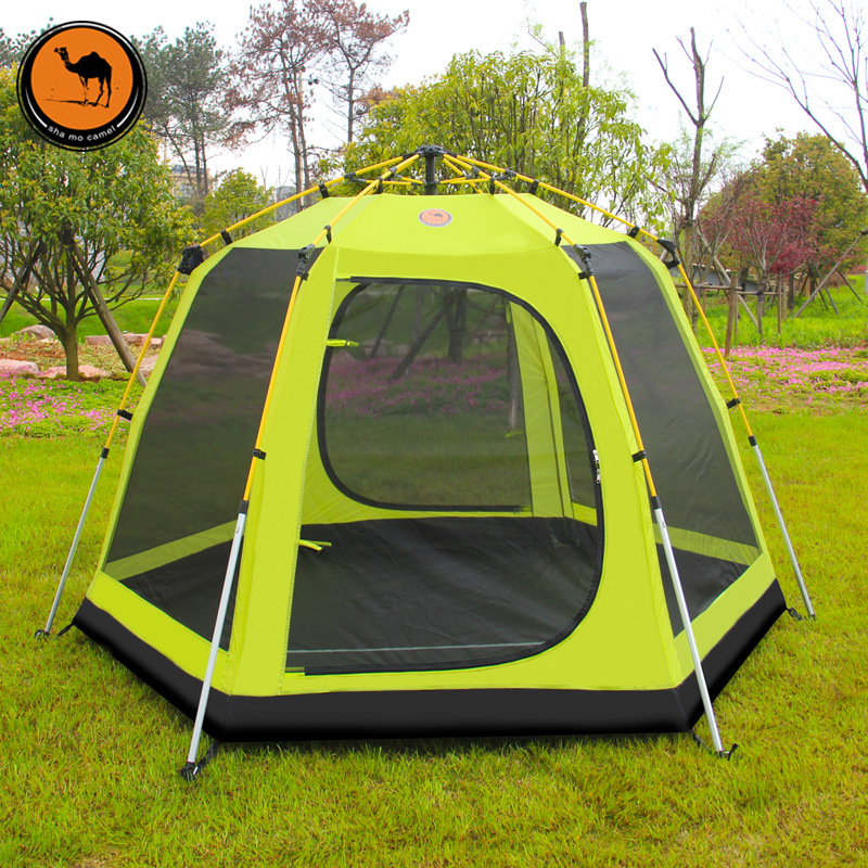 Camel outdoor double super tall tent 3 4 people six corners full automatic tent telescopic aluminum rod c&ing trip free-in Tents from Sports ... & Camel outdoor double super tall tent 3 4 people six corners full ...
