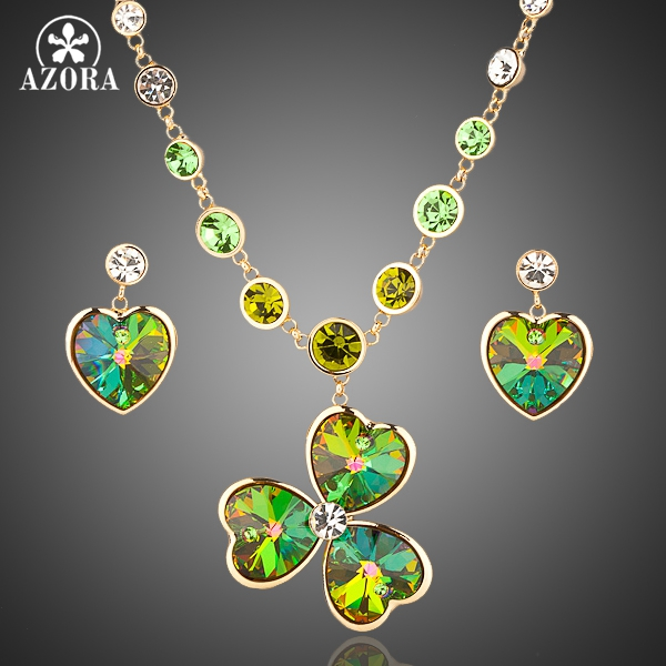AZORA Gold Color Stellux Austrian Crystal Heart Drop Earrings and Flower Pendant Necklace Set TG0012