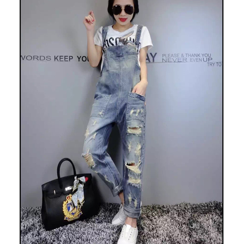 Denim Bib Female 2019 Spring And Summer Fashion New Loose Thin Large Size Hole Denim Bib Pants Nine Pants H00490 6
