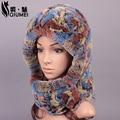 QiuMei Plush Ladies Real Fur Caps Russian Fur Caprex Rabbit Fur Winter Warm Furry Hat Russian Hat Earflaps  Hat Ushanka Hats