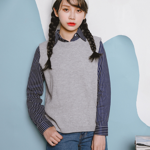 Autumn Winter Korean Style Casual Round Neck Knitted Sweater Vest - Women's Clothing - Photo 3