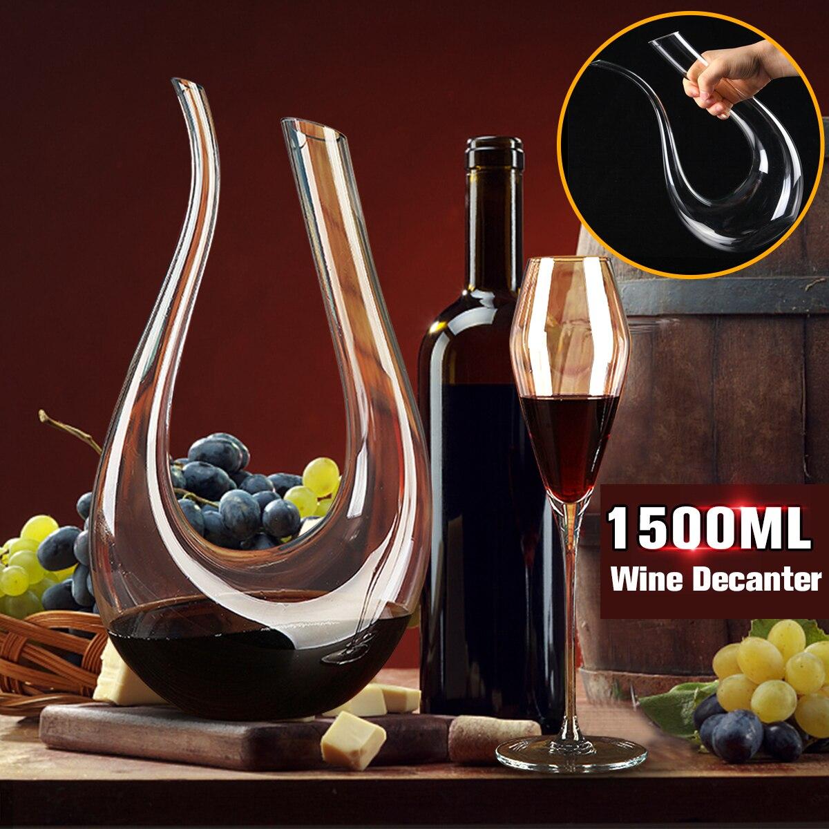 1500 ml cristal Cuerno grande rojo vino Decanter Brandy vertedor jarra de vino contenedor botella de agua copas Carafe Bar conjunto