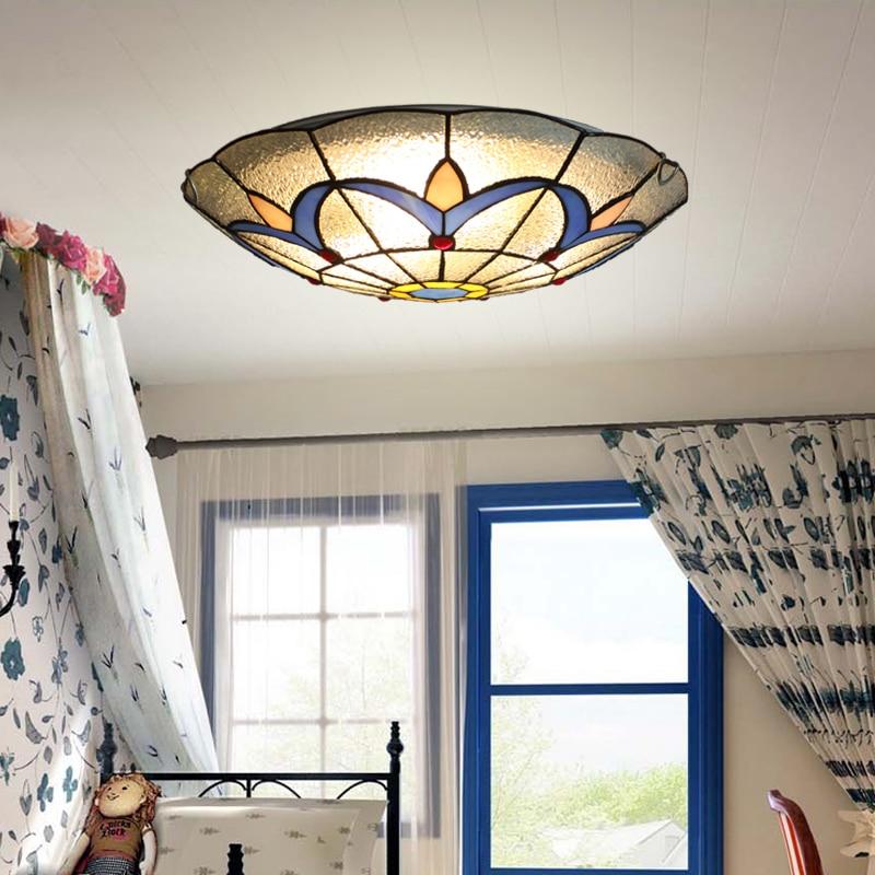 Işıklar ve Aydınlatma'ten Tavan Işıkları'de Avrupa Tiffany tavan retro akdeniz pastoral tavan ışıkları luminaria teto tavan lambaları ev dekorasyon için title=