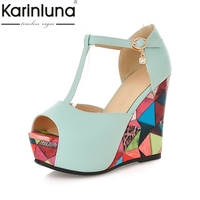 KARINLUNA 2018 Fashion Size 34 39 Spring Autumn Buckle Strap Wedge High Heels Women Shoes Peep