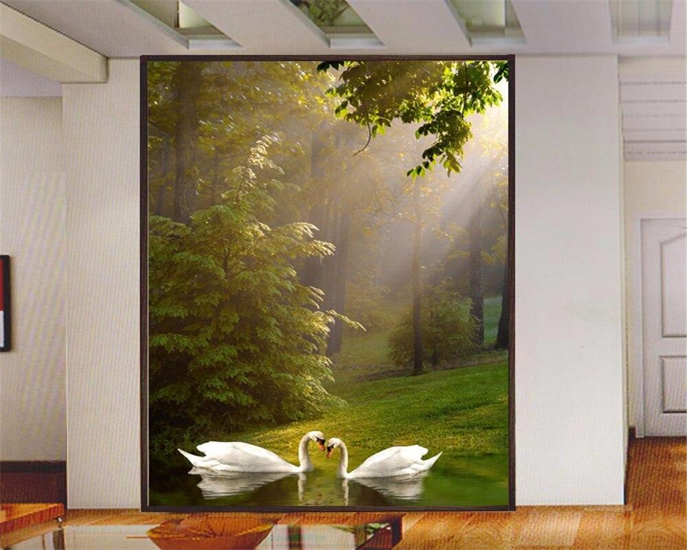 Carta Da Parati Ingresso us $8.85 41% di sconto|beibehang hd photo sfondi ristorante corridoio  d'ingresso carta da parati lago dei cigni scenic spot grande murale carta  da