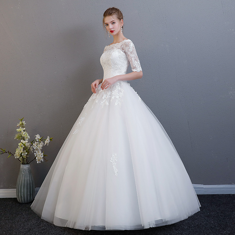 Elegant Wedding Dresses 2019 Ball Gown Wedding Gowns Half Sleeves Tulle Lace Vestido De Novia In Stock China China Bride Dress
