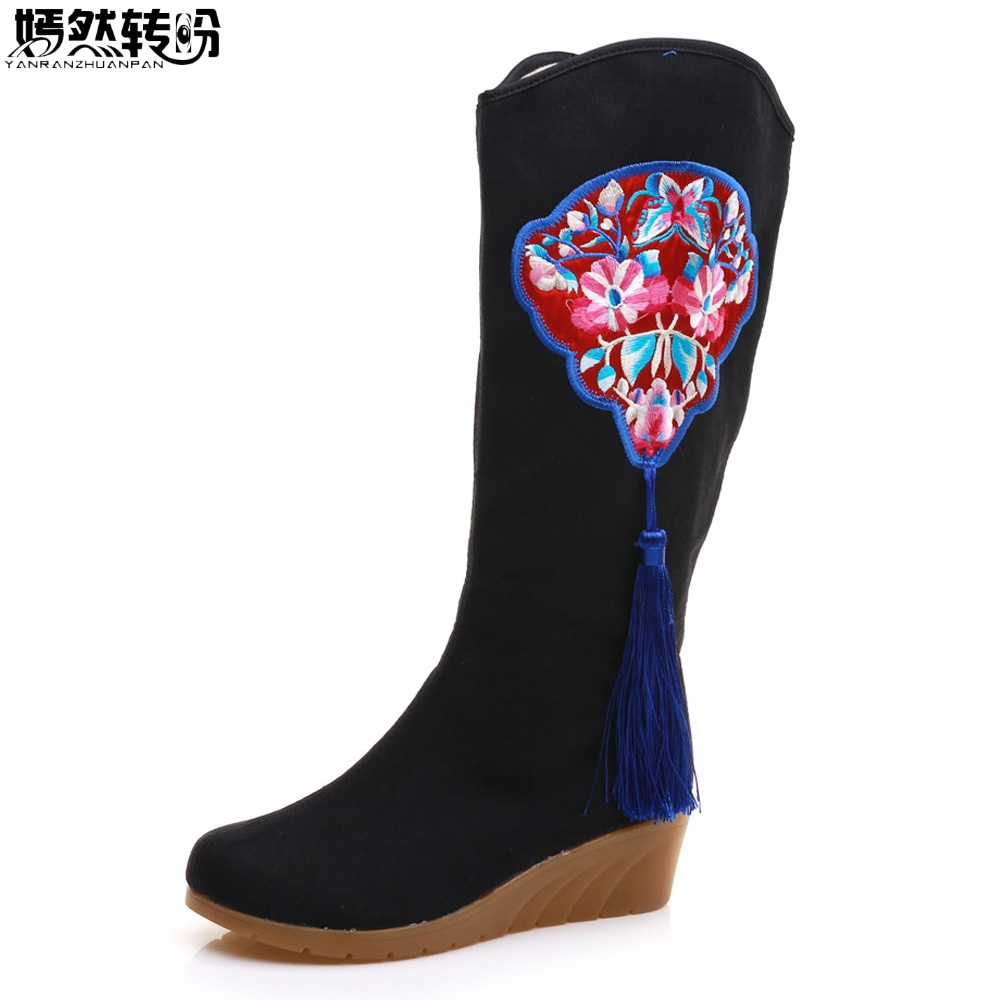 Chinese Women Boots Floral Embroidered Tassel Canvas Cotton Tall Boots Ladies Hidden Wedges 5cm Heel Platform Shoes Botas Mujer vintage embroidery women flats chinese floral canvas embroidered shoes national old beijing cloth single dance soft flats