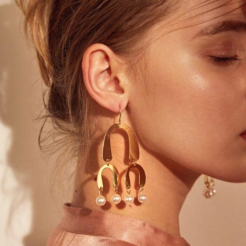 LWONG Gold Color Multi Horseshoe Geometrical Earrings for Women Brass Large Earrings Statement Drop Pearl Chandelier Earrings