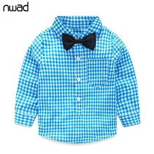 NWAD Baby Boy Clothes 2017 Autumn Newborn Baby Sets Infant Clothing Gentleman Suit Plaid Shirt+Bow Tie+Suspender Trousers FF032