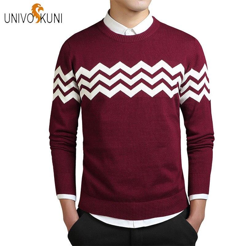 UNIVOS KUNI 2018 Autumn Fashion Casual Men Sweaters Pullover Slim Fit 100% Cotton Striped Men Sweaters Pullover Plus 3XL J258