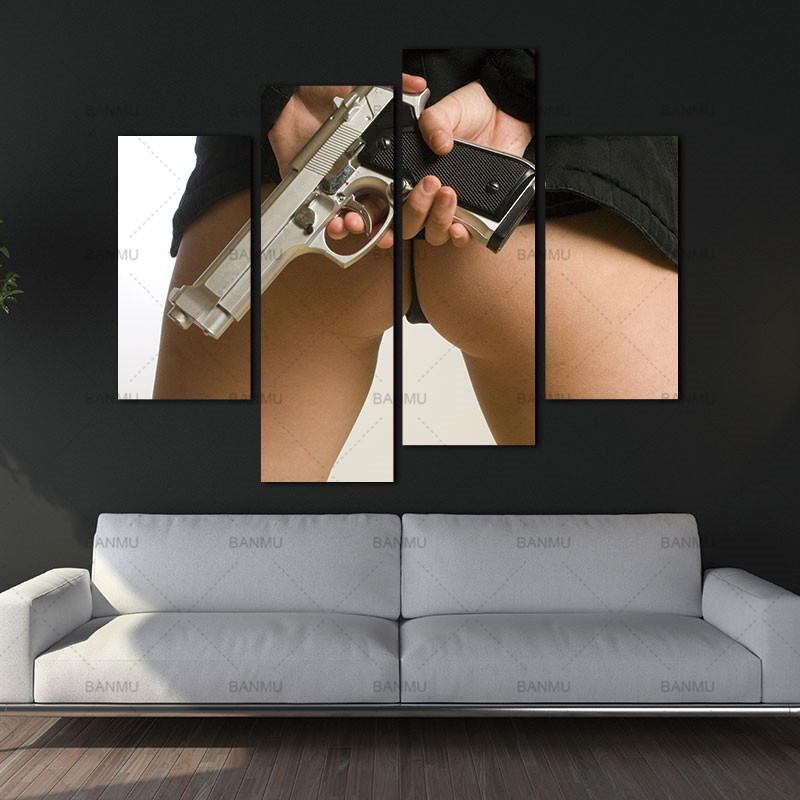 Canvas Paintings Wall Art Picture 4 Panels Canvas Photo Prints Sexy Woman Holding A Pistol Wall Decorations Paintings no frame ...