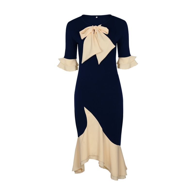 Cérémonie Manches Navy Arc Moulante Femmes Élégant Robe Sirène Vintage Trompette Longue Soirée De 2018 Papillon xq7HBwf0q