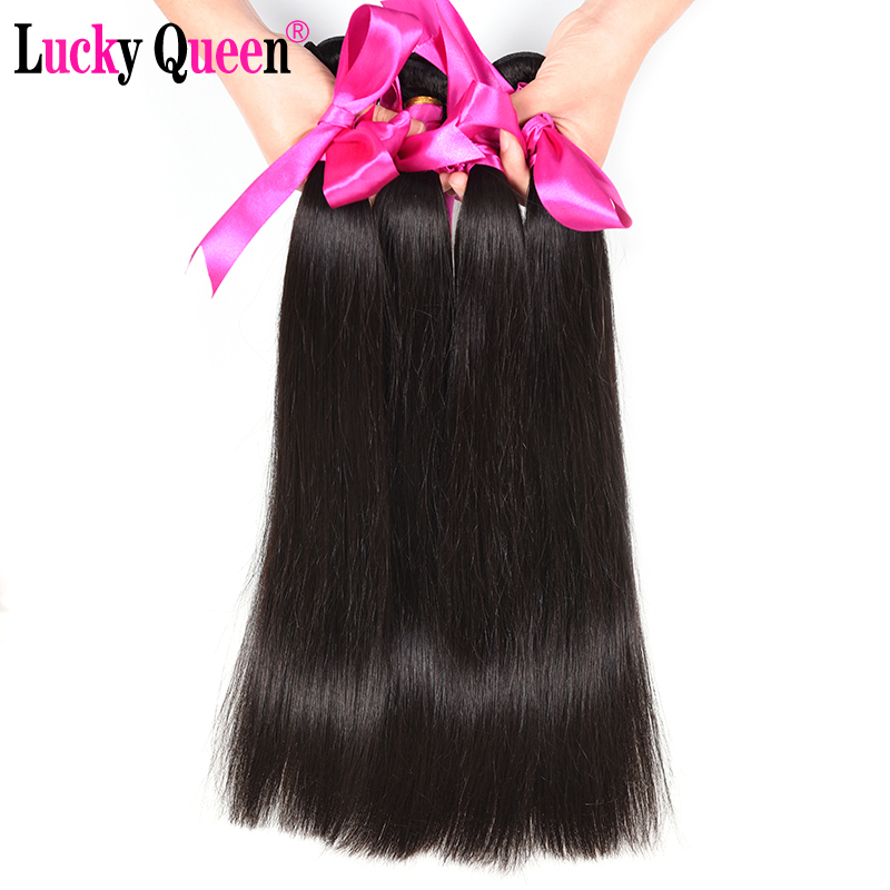 Lucky Queen Hair Products Brazilian Straight Hair 4 buntar # 1B / # 2 - Mänskligt hår (svart) - Foto 4