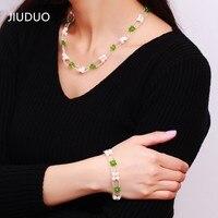 JIUDUO Barato envio natural de água doce pérolas cultivadas colar Pulseira Set presente elegante moda feminina selvagem modelo JS26