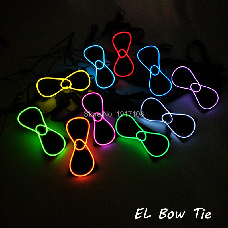 New Style Sound Activated 10 Color Available Glowing EL Bow Tie LED Neon Light For Wedding Party Decoration with 3V EL Inverter