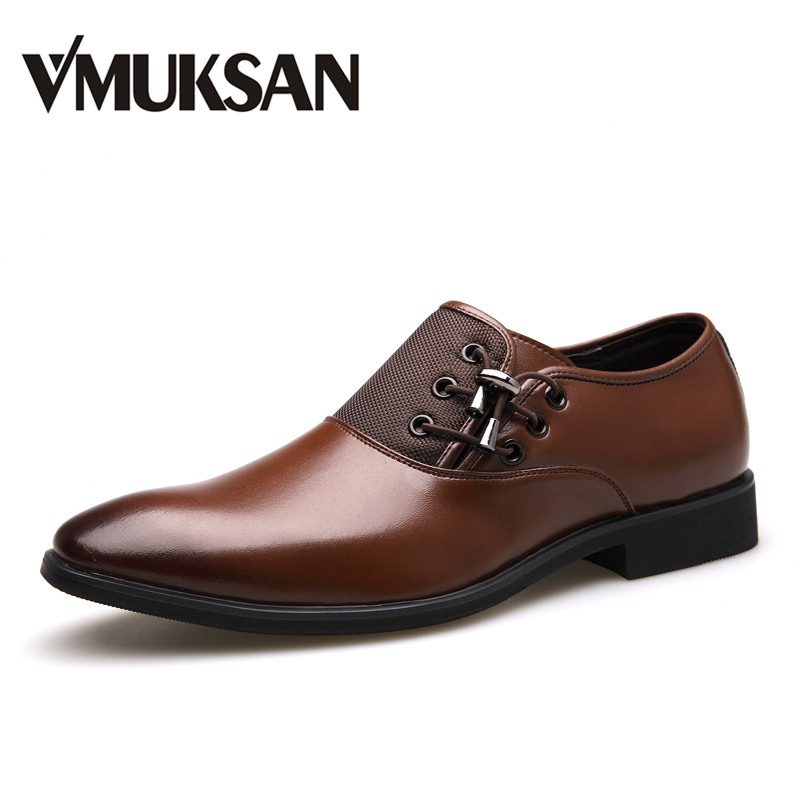 VMUKSAN Brand New Men's Dress Shoes Size 38-47 Black Classic Point Toe Oxfords For Men Fashion Mens Business Party Shoes new brand designer formal men dress shoes lace up business party oxfords shoes for men pointed toe brogues men s flats plus size