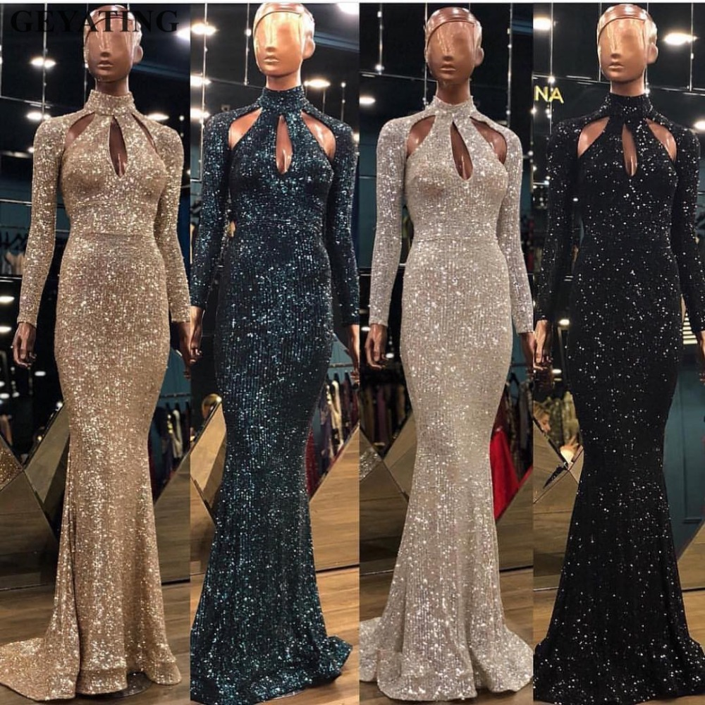 Dark Green Sequined High Neck Mermaid Evening Dresses 2019 Long Sleeves Hollow Cut Out Long Gold Prom Formal Dress Party Gowns Hot Discount Black