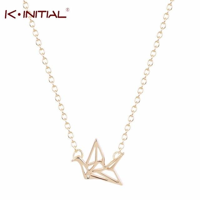 Kinitial 10pcs gold silver origami crane necklace women jewelry kinitial 10pcs gold silver origami crane necklace women jewelry origami crane necklaces pendants cute bird long aloadofball Images