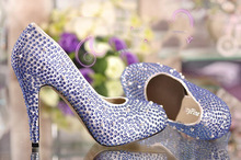 Fashion Blue Rhinestone Round Toe Platform High Heel Wedding Bridal Evening Pumps Prom Dress Shoes