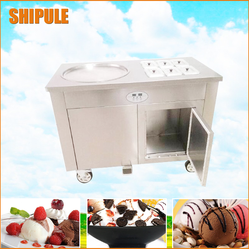 Fried Ice Cream Machine Single Round Pan Ice Cream Roll Machine with Salad Fruits Workbench 6 pcs Tanks Cooling and a fridge 2017 ce approved thai style fried ice cream roll machine single pan fry ice machine fast cooling ice pan machine with dust cover