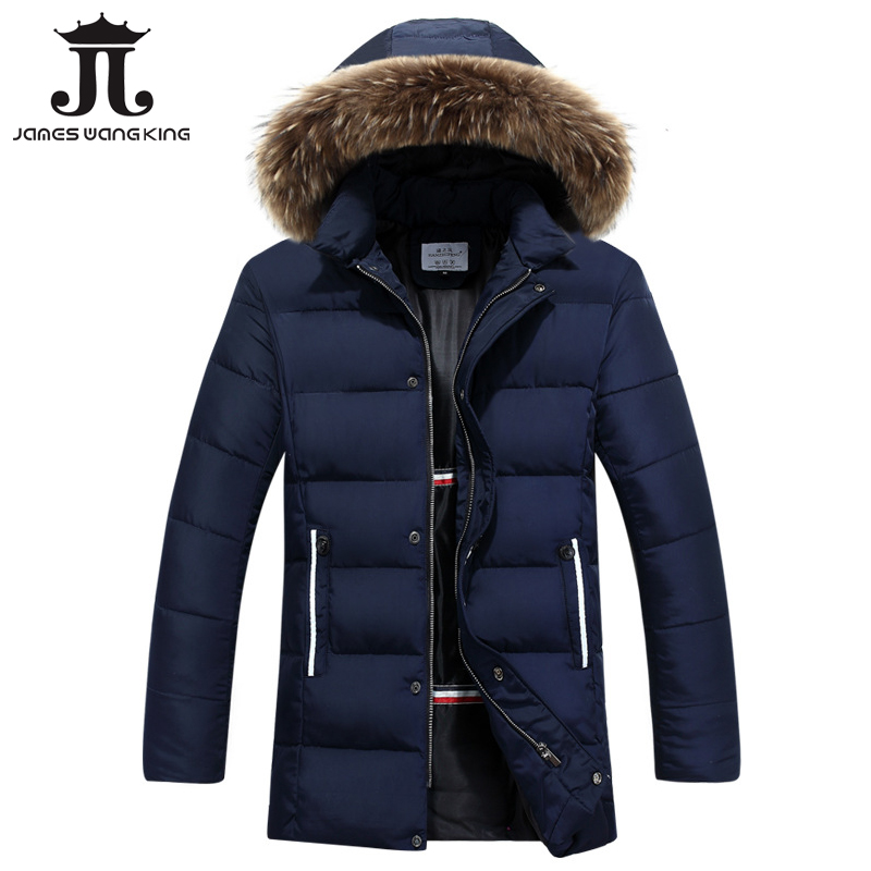 New winter jacket Men Solid Long Down cotton Fur collar Jacket Fashion zipper Wadded Thicken Design warm fur Hooded coat Parkas 2015 new hot winter thicken warm woman down jacket coat parkas outerwear rabbit fur collar luxury slim long plus size xl high