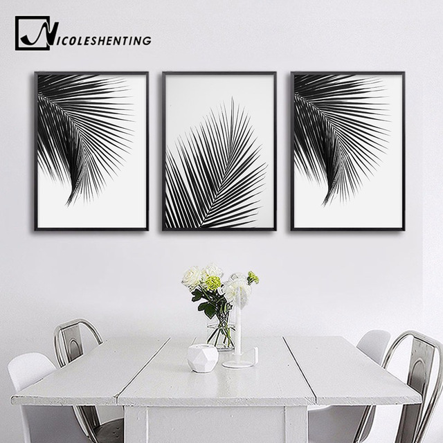 Black white palm tree leaves canvas posters and prints minimalist painting wall art decorative picture nordic