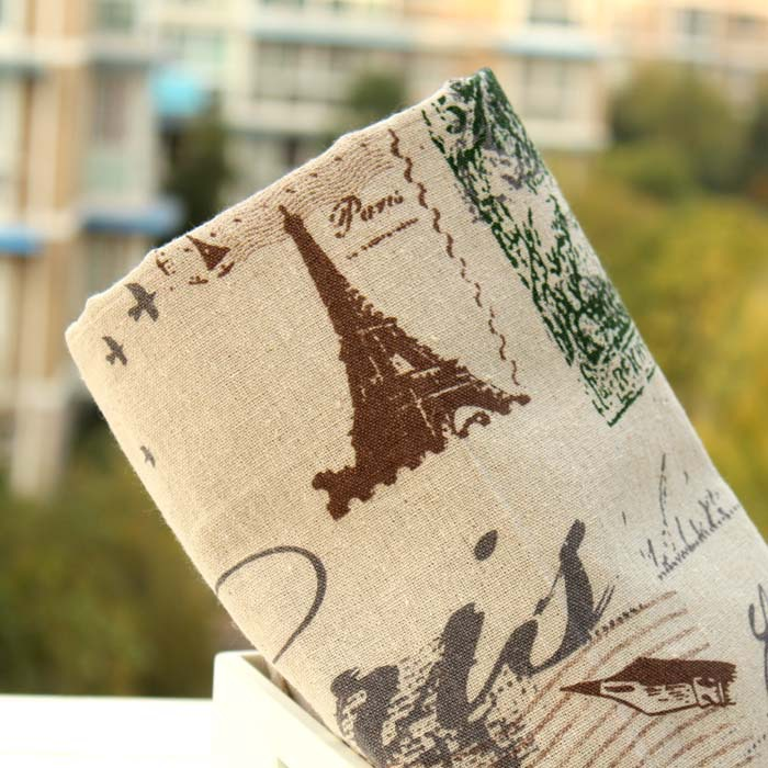100145cm Zakka Vintage Style Iron Tower And Postage Stamp Printing Hemp Linen Cloth For Quilting Patchwork Fabric Sewing Bag In From Home Garden